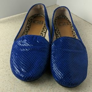 Gianni Bini blue leather ballet flats size